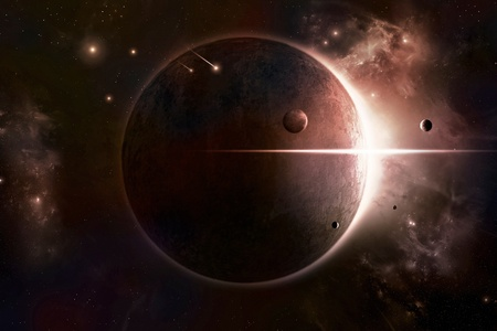 sun eclipsed by planet moons and nebula behind it