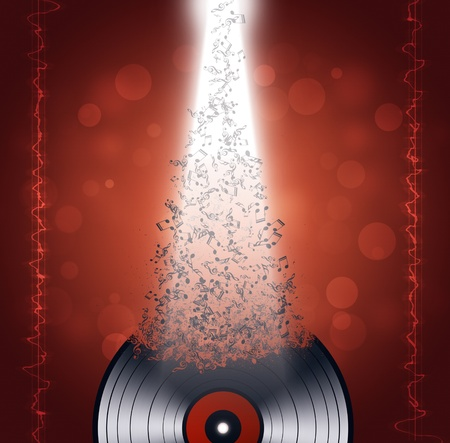 music vinyl background with music waves and notes