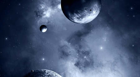 Imaginary black and white illustration of planets moons and universe