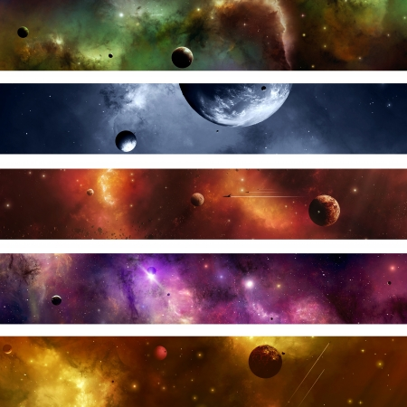 Imaginary suns planets moons stars nebulas crafts banners of space