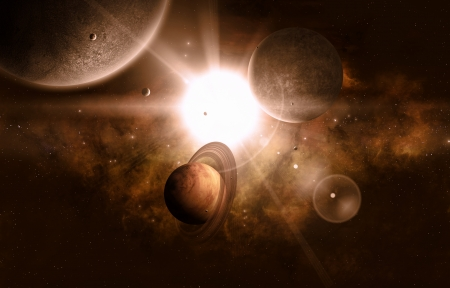 moons: imaginary space view of bright star gas planet and moons Stock Photo