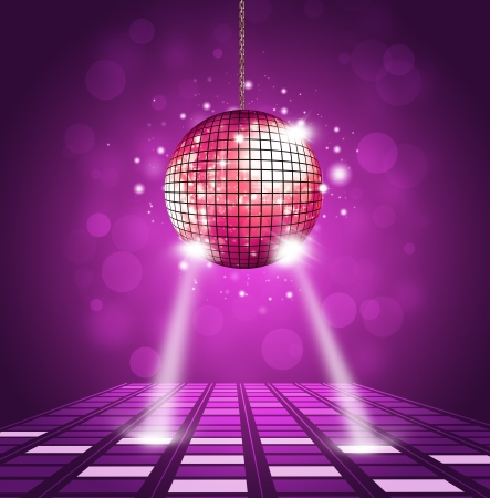 disco party: disco ball and floor background with equalizer and music waves
