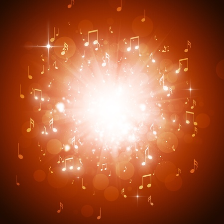 music notes explosion in the dark with lights and bokeh background photo