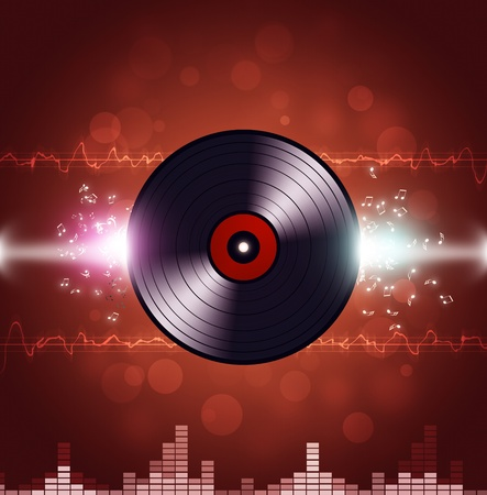 music vinyl background with equalizer and music waves photo