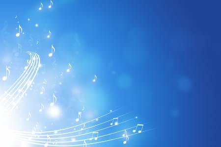 blue abstract funky background with music notes lights and bokoh