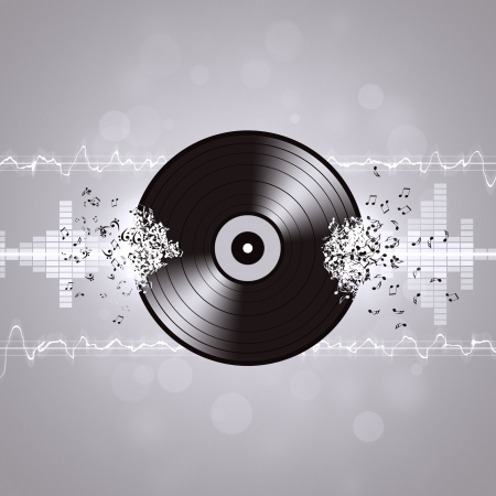 music vinyl background with equalizer and music waves