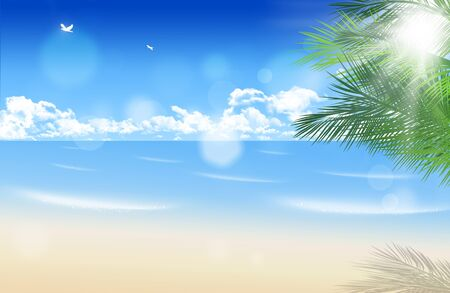 abstract summer sunny beach background with blurrry lights photo