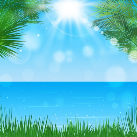 summer tropical background with palms and sunny blurrry lights photo
