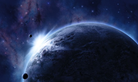 space background with planet in front eclipsed the star