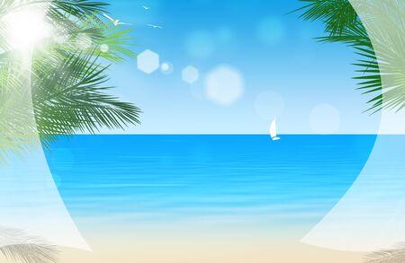 beautiful view at beach through white curtains photo