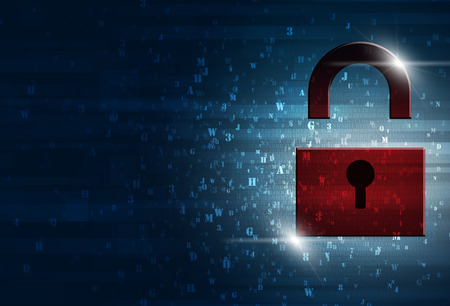 lock: abstract technology digital binary code information security