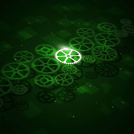 greeen: abstract technology business motion gears on green background