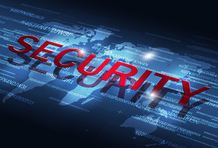 security technology: digital coding business internet technology security blue background