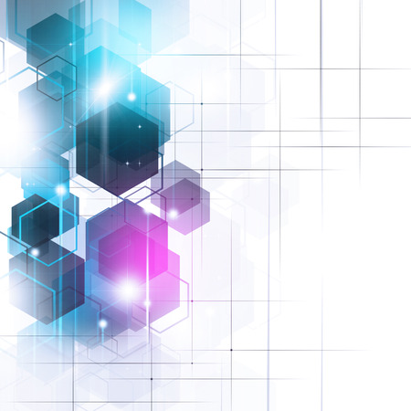art digital: abstract technology geometric concept bright blue background Stock Photo