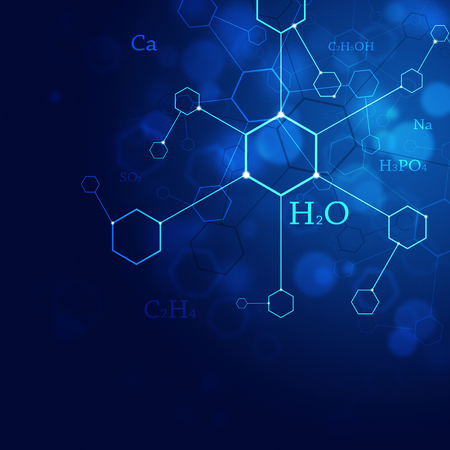 technlogy: abstract blue technlogy and science background with chemistry elements