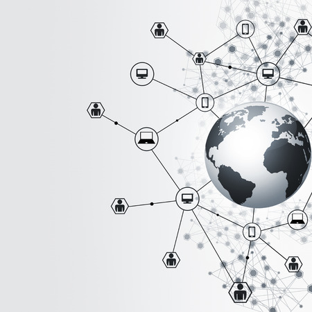 global background: abstract network global connections concept black and white background Stock Photo