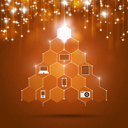 creative abstract xmas technology tree with presents photo