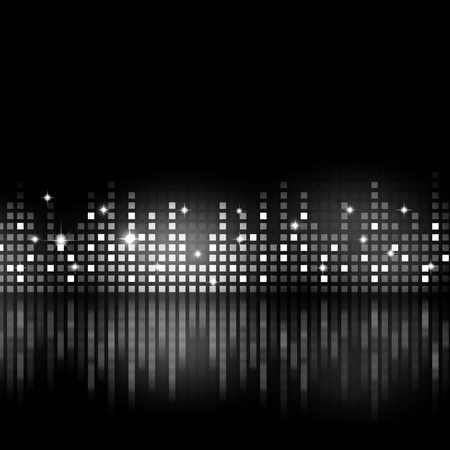 black and white music equlizer background for active parties Archivio Fotografico