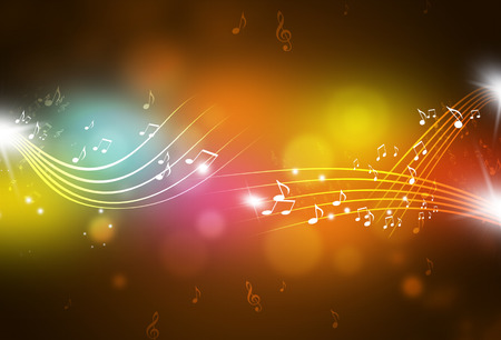 music abstract: music notes and blurry lights on dark multicolor background