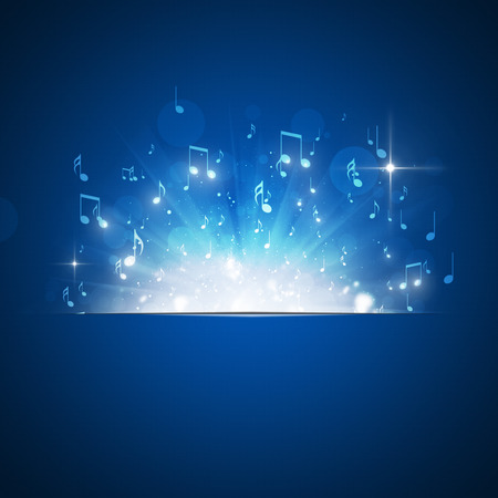 note: music notes explosion with lights and bokeh blue background