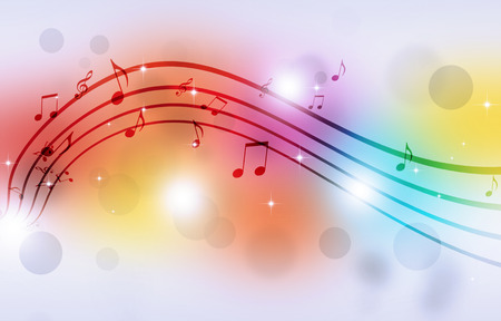 abstract party background with music notes and blurry lights