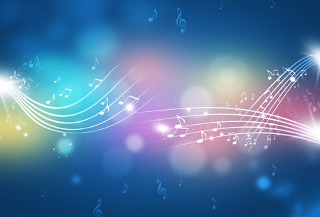 music notes and blurry lights on multicolor background Standard-Bild