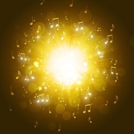 music notes explosion in the dark golden background