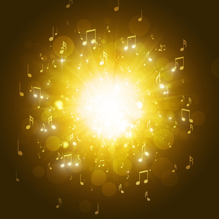 music notes explosion in the dark golden background