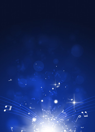 abstract blue background with music notes and blurry lights Stock Photo