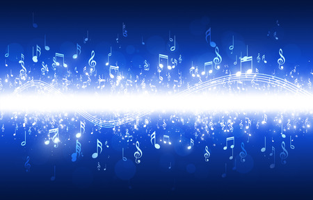 music background: abstract music notes on dark blue background