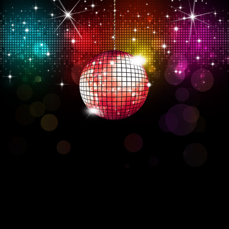 multicolor disco party music background with lights and blurs photo