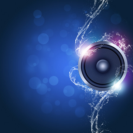 sound speaker music background with bokeh lights and water waves Imagens