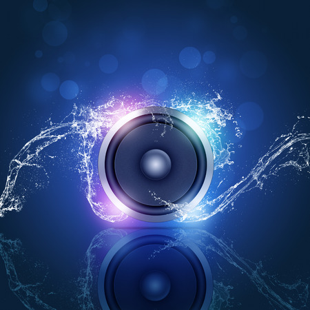 sound speaker music background with bokeh lights and water waves Standard-Bild