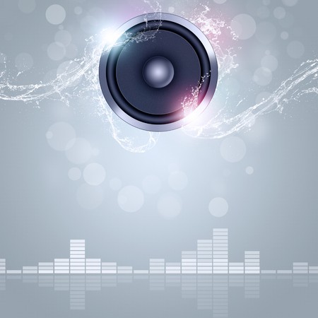 sound speaker music background with bokeh lights and water waves Stock Photo