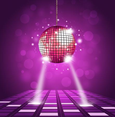 fiestas discoteca: bola de discoteca y de fondo con olas de ecualización piso y la música