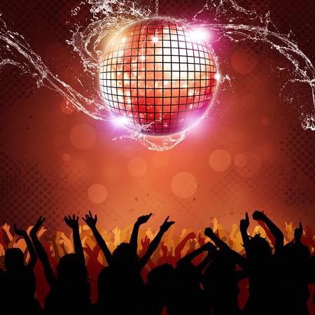 disco ball and people dancing on the sisco floor