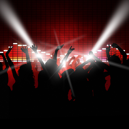 music equalizer background with dancing people in front photo