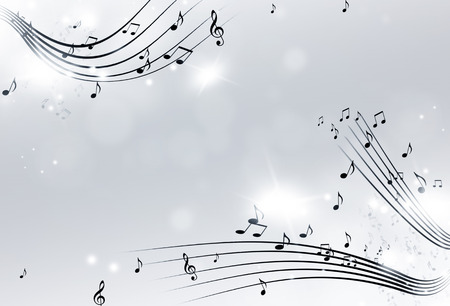music notes with lights and bokeh black and white background