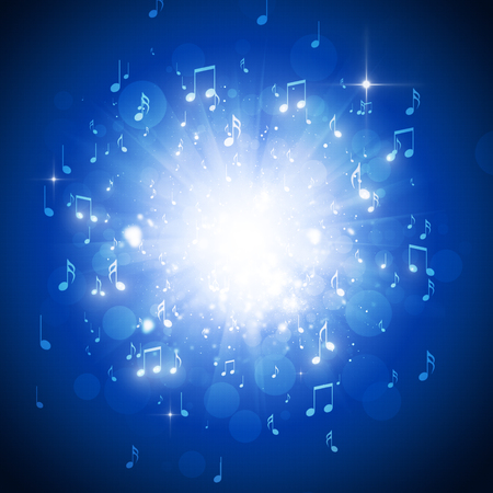 music notes explosion in the dark with lights and bokeh background Stock Photo