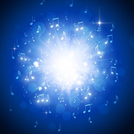 Musiknoten Explosion in der Dunkelheit mit Licht und bokeh Hintergrund Standard-Bild - 31823373