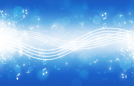 sound of music: abstract music background notes lines bokeh and lights Stock Photo