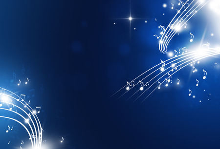 music notes with lights and bokeh blue background Stock Photo