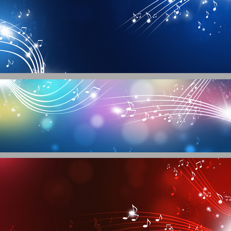 curve background: abstract music notes banners with lights and blurs