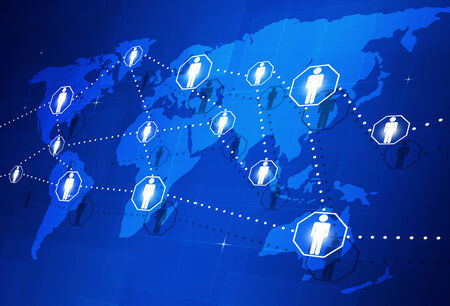connection connections: abstract global people connection concept on the world map Stock Photo