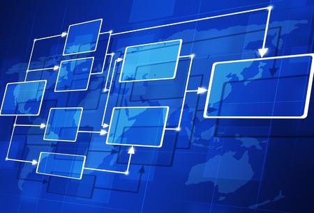 abstarct 3d stroomschema op de kaart blauwe achtergrond Stockfoto