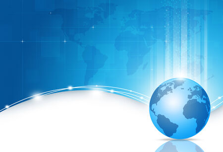 abstract digital business world technology blue background Imagens
