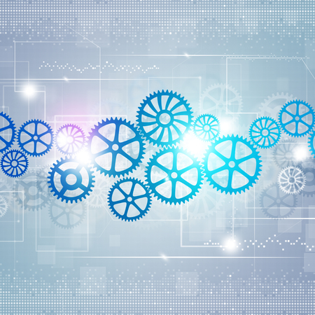 abstract technology business motion gears blue background