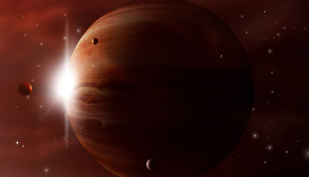 imaginary gas giant in a deep dark space photo