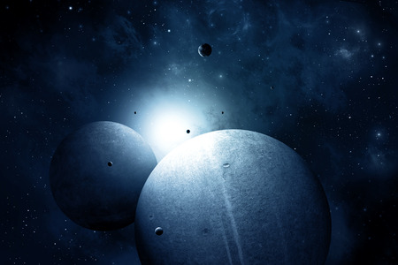 blue deep space abstract imaginary illustration with planets and moons illustration
