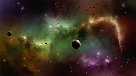 Imaginary beauty of colorful nebula stars planets and universe